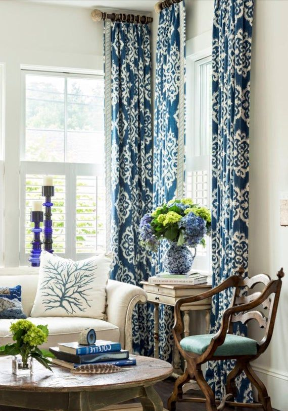 Quick Ship Pair Blue Ikat Curtains Blue White Curtains Navy Etsy Blue And White Curtains Living Room Decor Gray Ikat Curtains