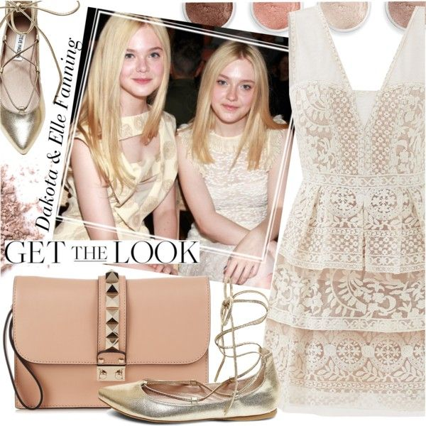 Celebrity Siblings - Dakota and Elle Fanning by ivansyd on Polyvore featuring BCBGMAXAZRIA, Steve Madden, Valentino, Terre Mère, GALA, GetTheLook and celebritysiblings