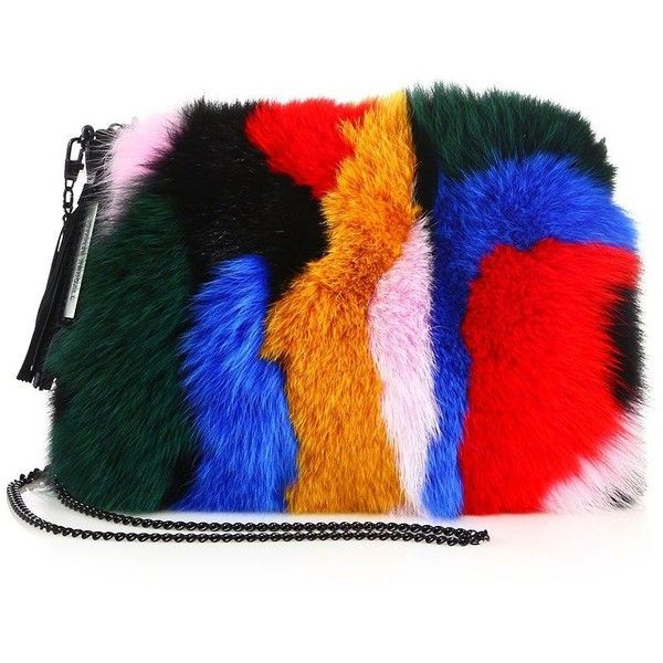 Loeffler Randall Multicolor Fox Fur & Suede Tassel Pouch (10.890 ARS) ❤ liked on Polyvore featuring bags, handbags, clutches, apparel & accessories, multi, fox handbags, tassel purse, pouch purse, fox purse and suede purse