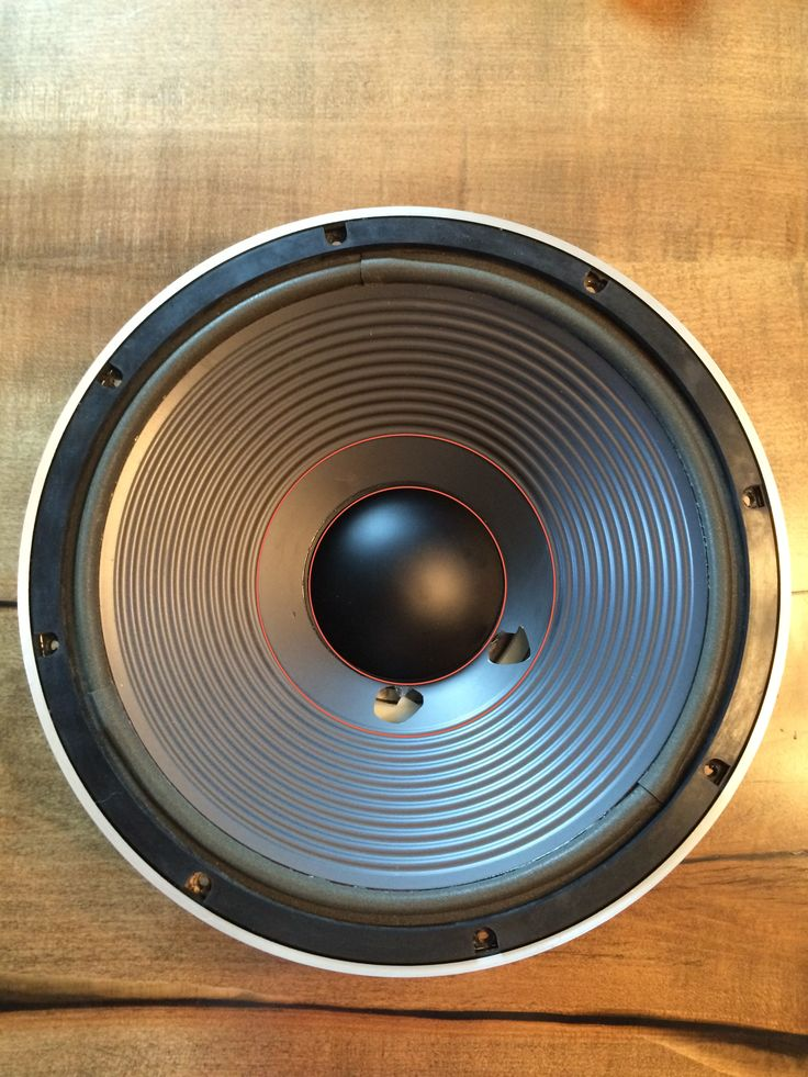 Pioneer S-1010 Passive Radiator woofer. Plan to run a single layer of carbon fiber along the back of the cone in between the red lines to reinforce the holes and maintain symmetry on the large cone.