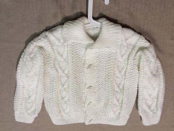 Aran Sweater, Hand-Knit Made In Ireland White 2-4yrs Unisex