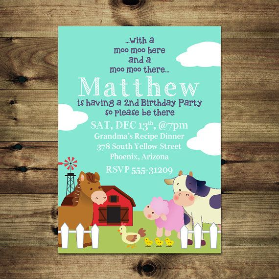 Farm Animals Birthday Invitation Bday_inv_023 by PapierMignonID