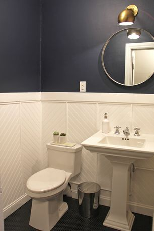 Transitional Powder Room with Powder room, High ce…