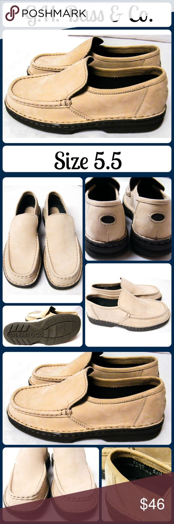 New GH BASS &CO Loafers Slip on Boat/Dock Shoes Never worn! Soft, brushed tan leather. Very sturdy shoes, no stains, tears, or marks.... From a smoke-free, No trades Bass Shoes Flats & Loafers