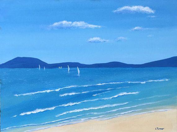 Beach Painting, Original, Acrylic on Canvas, Australian Artist, Coastal, Whitsundays, Blue, Water, Ocean, Calm, Sailing Boats