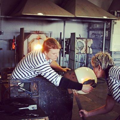 Glass blowers hard at work in the Red Hot Glass studio