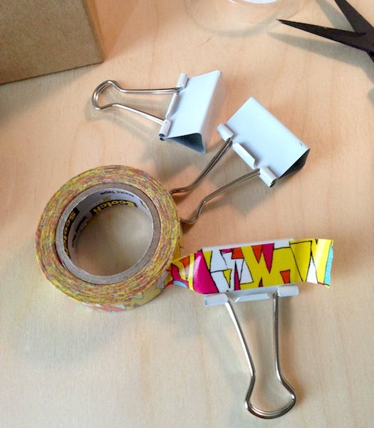 Use tape to decorate binder clips