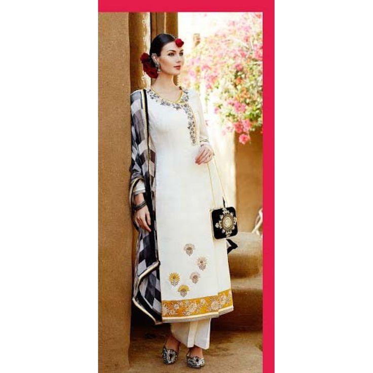 Cream Straight Cut Designer Piece with Beautiful Embroidery