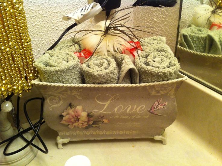 Bathroom hand towel decor just because pinterest - Decorative hand towels for bathroom ...