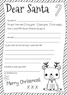 Kids Free Printable Dear Santa Letter Party Craft Idea
