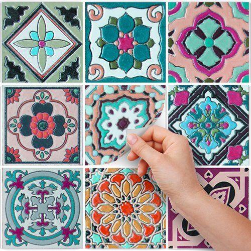 PS00013 Adesivi murali in pvc per piastrelle per bagno e cucina Stickers design - Decori anni 70 - 24 piastrelle formato 20x20 cm: Amazon.it: Fai da te