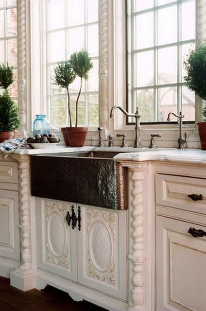 An old world kitchen copper french country and cabinets for French country sink
