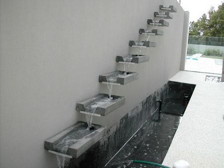Overflowing Granite Spouts Water Feature Cantilevering From Wall Wall Pinterest