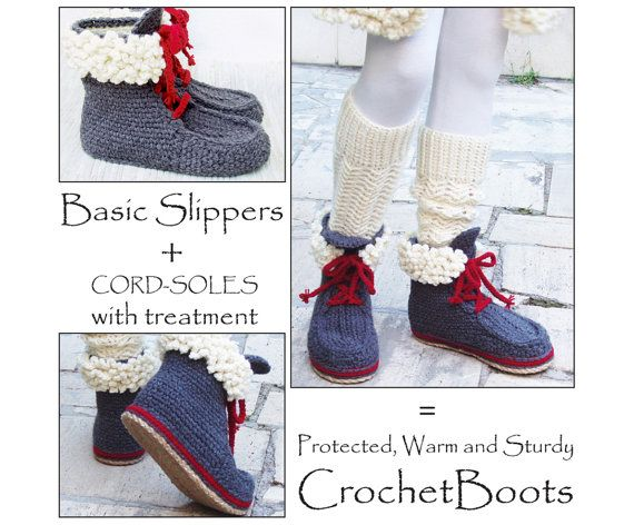 2in1-PACKAGE for ADULT Winter Slipper-Boots with Fur and Laces, incl Tailored CORD-Soles with Treatment - Instant Download $11.09