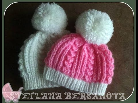 Вязаная шапочка для новорожденного.Knitted hats for newborns - YouTube