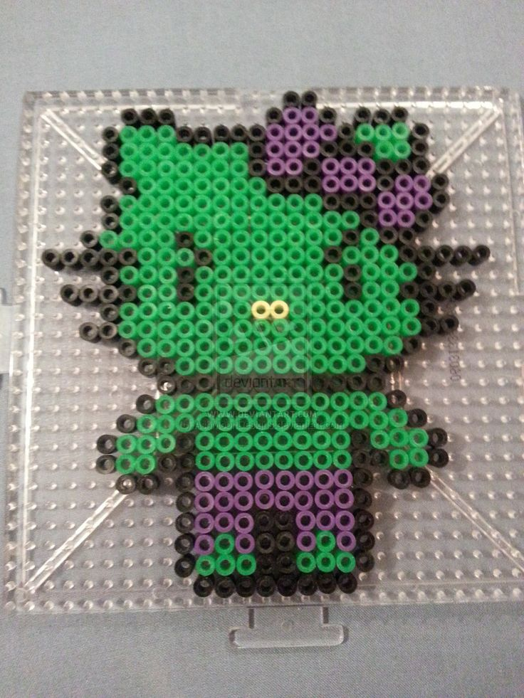 Hello Kitty Hulk Perler Bead Figure by AshMoonDesigns on deviantART