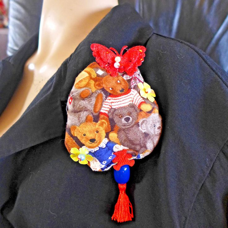 Handmade Brooch Pin Fabric  Beads One Of A Kind Embelishment Gift From Artist #HandmadebyRIVKAFILIN