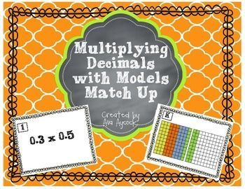Looking for a way to reinforce decimal multiplication with models? This match up game is a great way to do that! It includes 12 cards with a multiplication problem and 12 cards with a model of decimal multiplication. Students will match the problem with the model and then solve it.