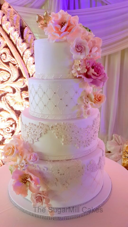 glam vintage 4 tiered wedding cake