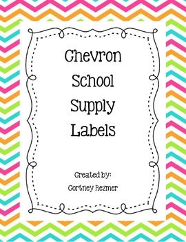 Chevron School Supply Labels
