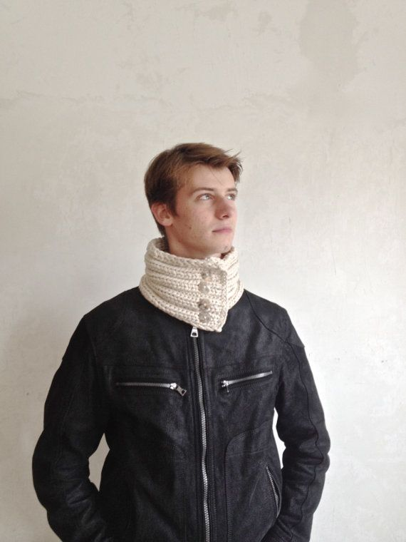 Knitted beige scarf  neckwarmer  unisex  bamboo by LoopsOops, $65.00