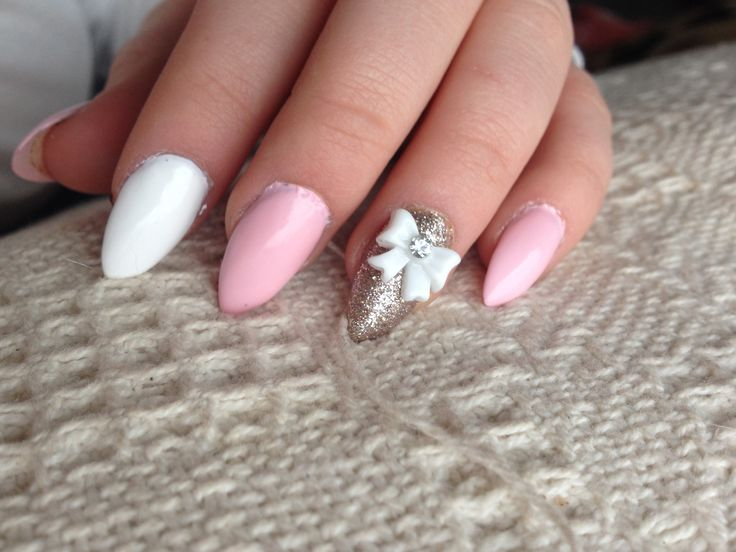 Valentines Day nails - almond nails pink white bows designs butter London