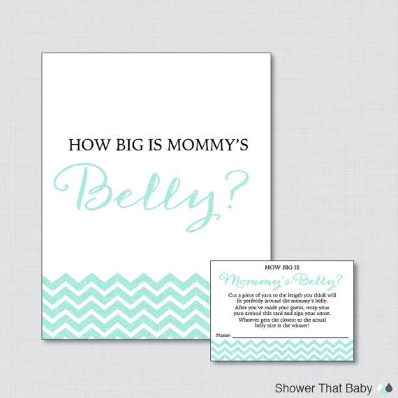 How Big Is Mommy's Belly Game in Aqua Glitter Chevron - Printable Baby Shower Belly Guessing Game, Guess Belly Size - Glitter Chevron