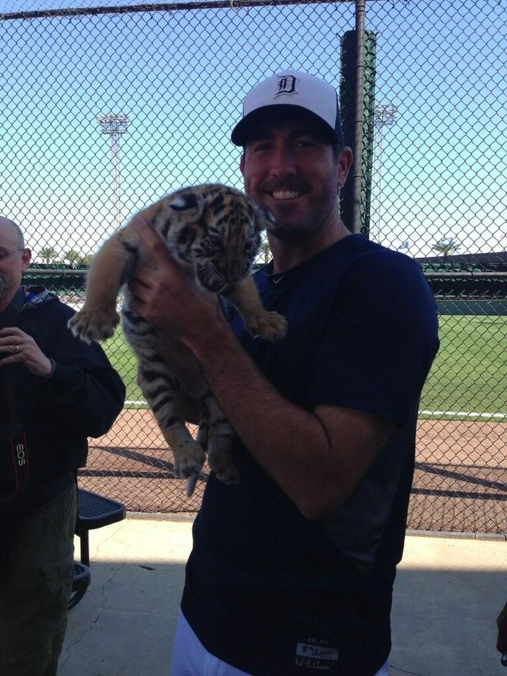 Justin Verlander; Detroit Tiger with a tiger!