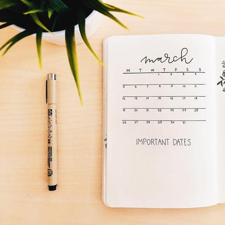 Bullet journal unique monthly calendar. | @journautical