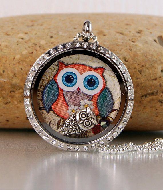 Memory Floating Charm Locket Necklace - Owl | Memories ...