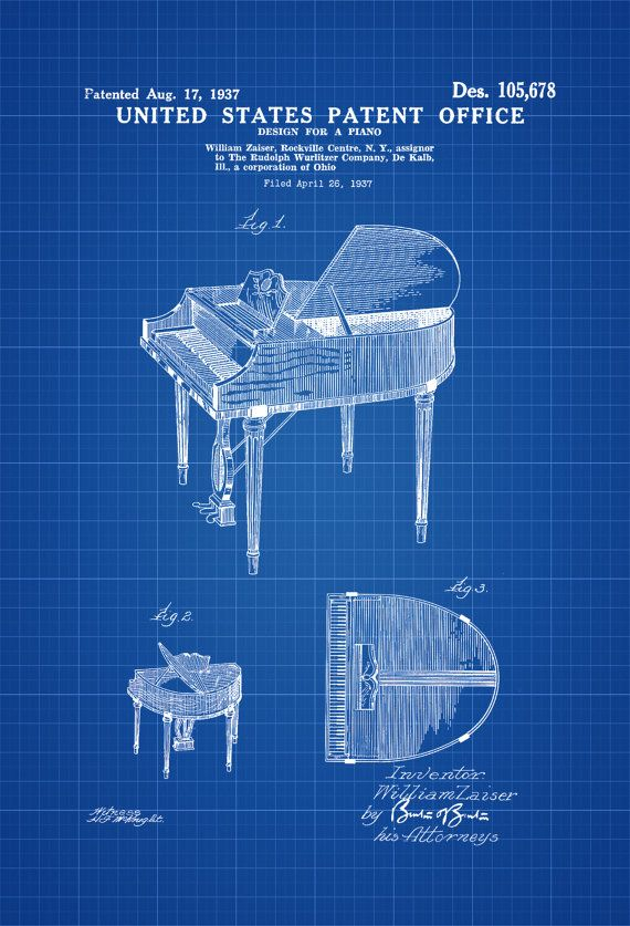 Wurlitzer Piano Patent - Patent Print Wall Decor Music Poster Musical Instrument Patent Piano Patent Wurlitzer Patent by PatentsAsPrints