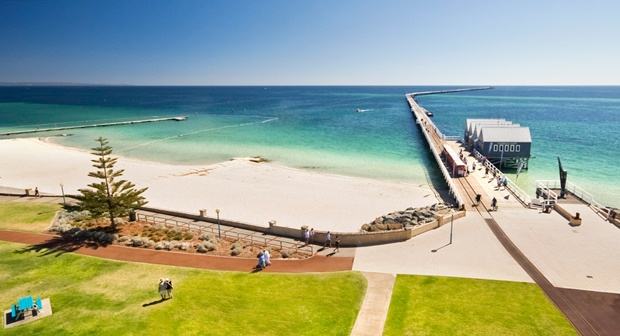 Busselton wharf, 2 kilometres long, in the southwest of W.A.