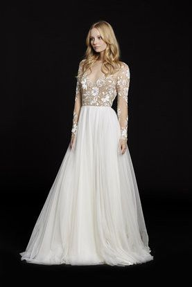 Remmington by Hayley Paige 6553 Rosewater long sleeve A-line bridal gown, illusion floral beaded bodice with bateau neckline and low open back, layered English net circular skirt.
