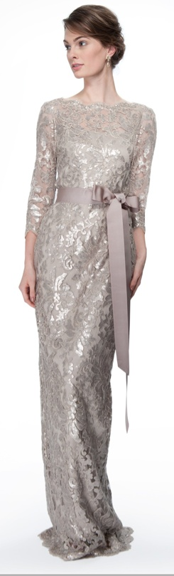 Paillette Embroidered Lace Boatneck ¾ Sleeve Gown in Sand #long #formal #dress #lace #champagne #elegant #night #evening #dresses