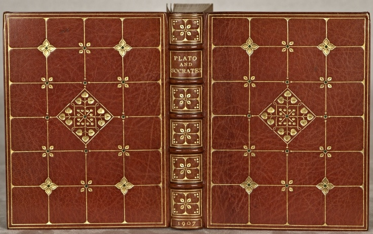 "(BINDINGS - SANGORSKI & SUTCLIFFE). PLATO AND SOCRATES.	 (London: Arthur L. Humphreys, 1907).	 163 x 122 mm (6 1/2 x 4 3/4""). 3 p.l. (including 2 tipped-in series and title leaves), 262 pp. Translated by William Whewell."