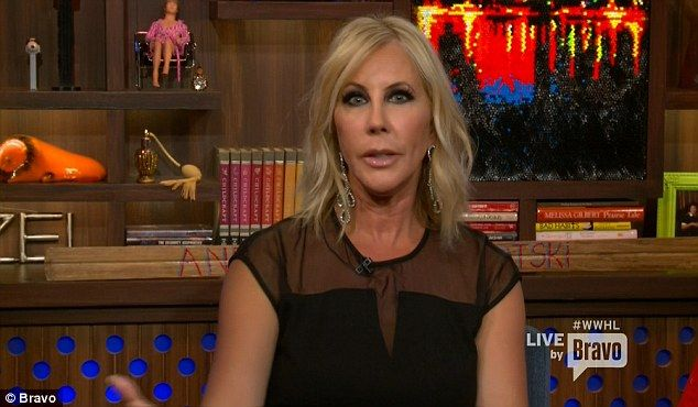Speaking out: Vicki Gunvalson says she has been left in the lurch by her RHOC co-stars - she revealed all to Andy Cohen on Monday night on Watch What Happens Live
