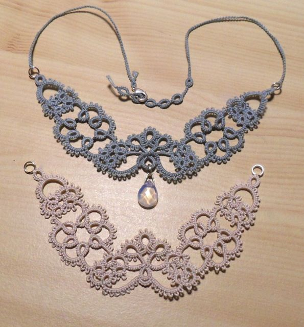 Tatted necklaces by Le Blog de Frivole http://leblogdefrivole.blogspot.se/2013/04/still-tatting-newcastle.html (Marilee's Rockley's Newcastle necklace).