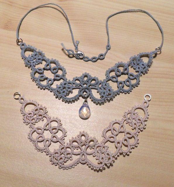 Tatted necklaces by Le Blog de Frivole http://leblogdefrivole.blogspot.se/2013/04/still-tatting-newcastle.html (Marilee's Rockley's Newcastle necklace).