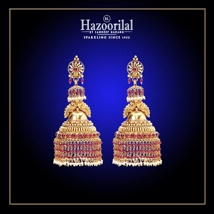 Intricately handcrafted gold jhumkas to adorn your attire from the House of #HazoorilalBySandeepNarang  #22kGold #Jhumka #TempleJewellery #TraditionalJewellery #IndianJeweller #BridalJewellery #Hazoorilal