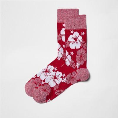 River Island Mens Pink hibiscus floral socks