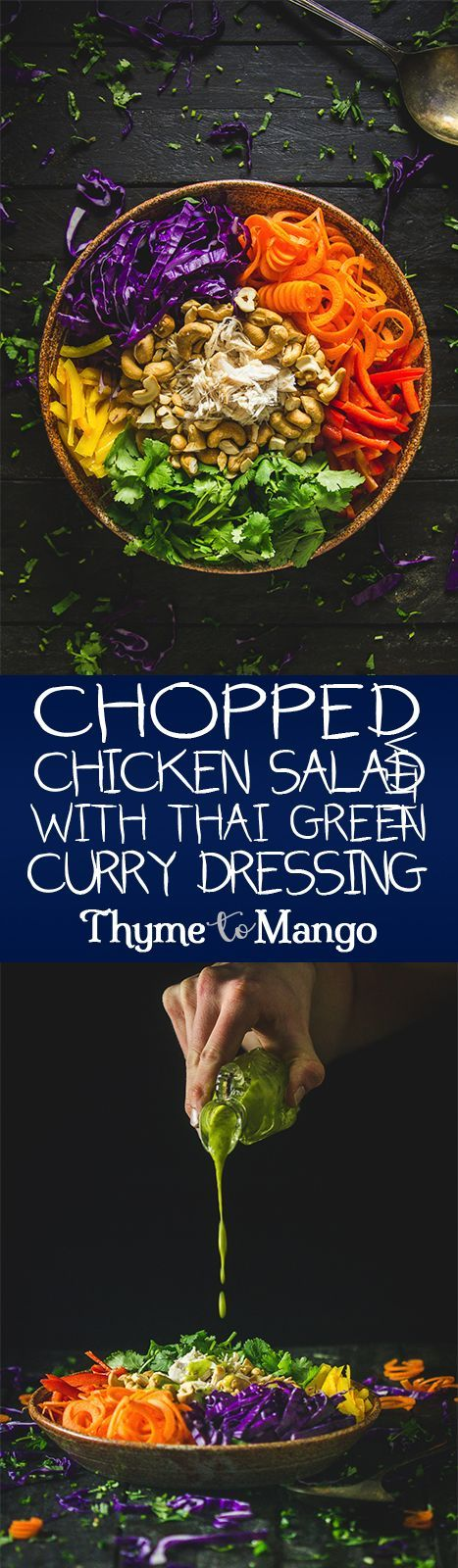 Satisfy all your salad cravings with this Chopped Chicken Salad; bursting with flavour and drowned in a tasty Thai green curry dressing