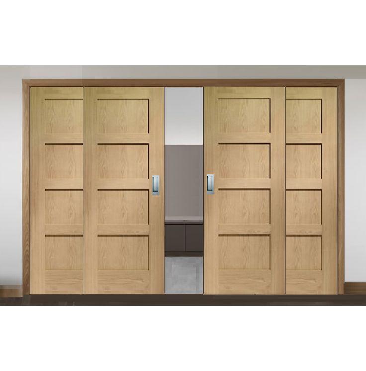 Sliding French Doors with Shaker Oak Doors