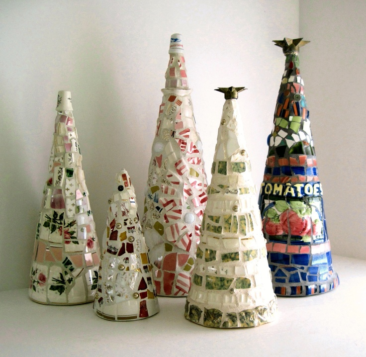 Mosaic Christmas Trees, Using Styrofoam Cones.