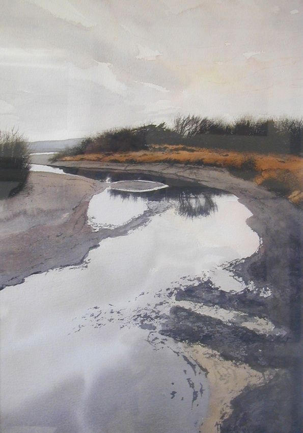 Morning on the River robert highsmith watercolor painting morning light river water reflection gray sky quiet contemplative mood