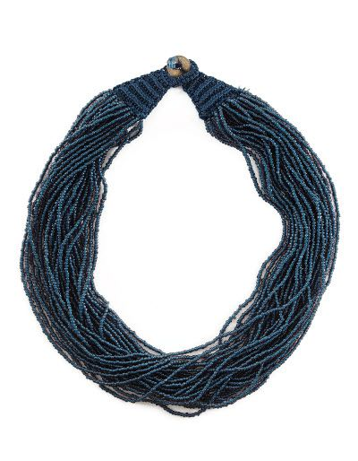 Beaded Navy Necklace