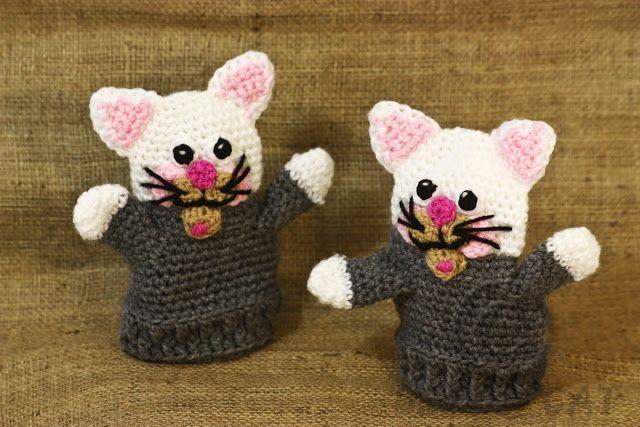 Bad Hat Cat: Crochet kitty cat gloves,crochet cat mittens, anim...