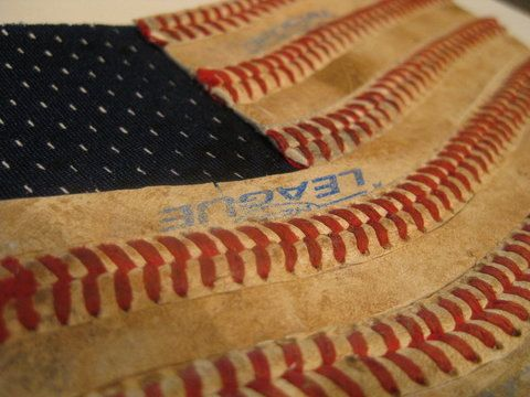 America's Game Baseball Seams American Flag Original Artwork - made from real used baseballs