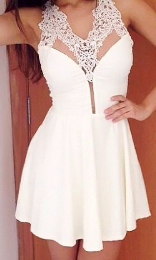 Lace Neck Skater Dress love this