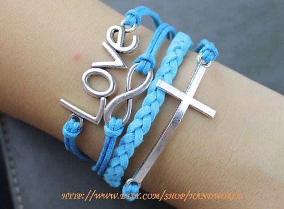 Silvery Love Bracelet Cross Bracelet Infinity Karma