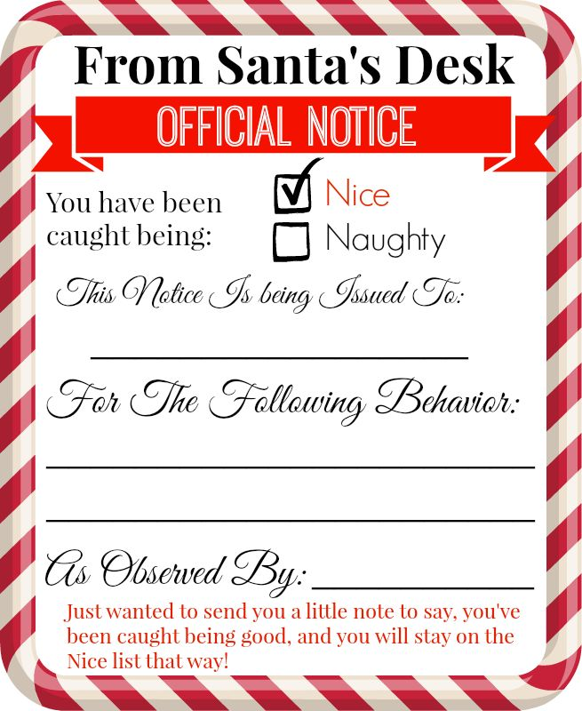 Free Printable Elf on the Shelf Notes  _ nice (has naught and notes from elf that are cute too)